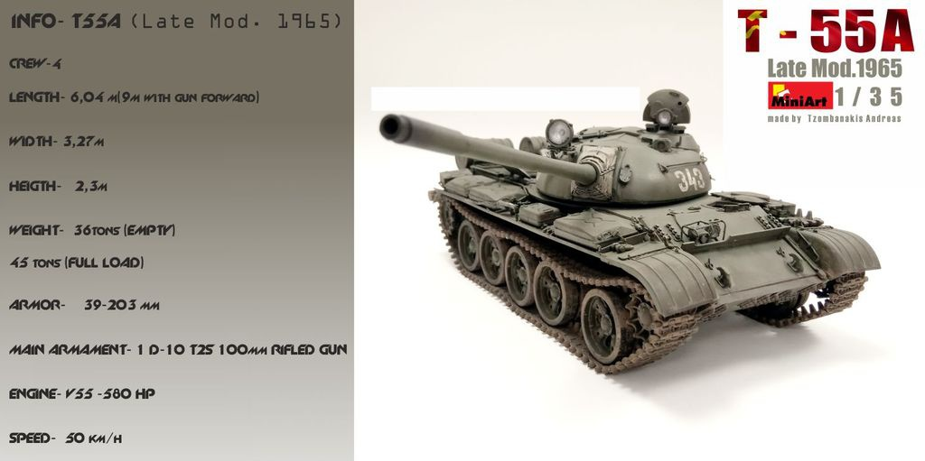 USSR T-55A (Final Mod 1965) Miniart 1/35